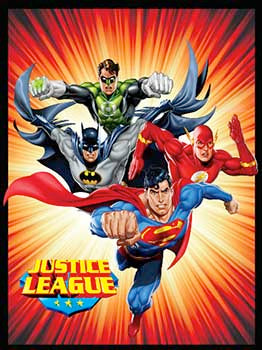 Blanket 60x80 Cartoon  JUSTICE LEAGUE RED STARBURST