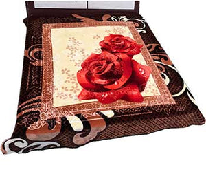 Blanket Queen  2PLY Gold Crown- Embossed 1020 Rose Floral Brown