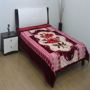 Blanket King 2PLY: NOOR: 876 Flower Maroon