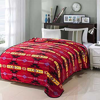 Fleece Blanket 60x80 Busy southwest 16112 Red