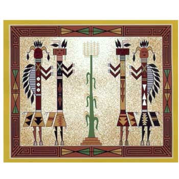 Fleece 50x60 Throw Blanket Native Writing Corn Kachina2 PF314