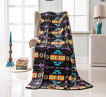 Fleece 50x60 Throw Blanket Busy Southwest 16112 Black