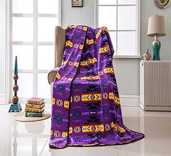 Fleece 50x60 Throw Blanket Busy Southwest 16112 Purple