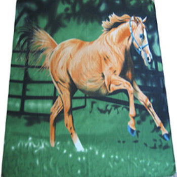 Fleece 50x60 Throw Blanket Horse Running 503