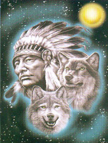 Fleece 50x60 Throw Blanket Indian Chief & Wolf 510