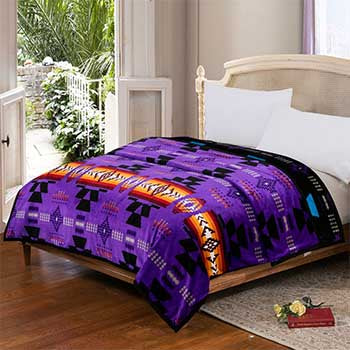 Blanket Queen 2PLY Flannel Southwest 16112 Purple