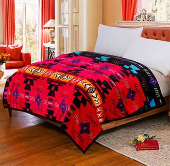 Blanket Queen 2PLY Flannel Southwest 16112 Red