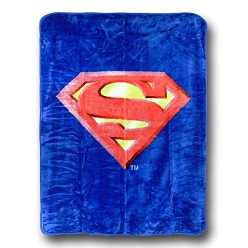 Blanket Baby Cartoon 40x50 SUPERMAN SHIELD THROW GIFT BOX