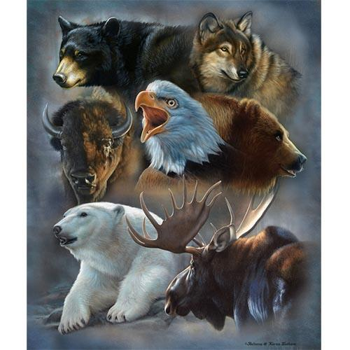Blanket Queen Signature Select- Animal Ct- Alaskan Collage Bear Wolf Eagle Buffalo Moose