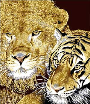 Blanket Queen DRA- Animal Ct- Lion and Tiger G537