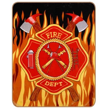 Blanket Queen TOR- Flag Ct- Fire Dept with Flames 504 470
