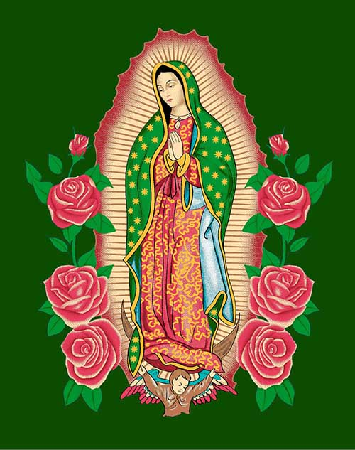 Blanket Queen MIL - Hispanic Ct- Virgin Mary g2779 Green