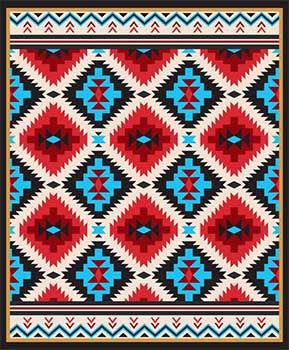 Blanket Queen CLD- Indian Ct- 1830 Southwest Design Black