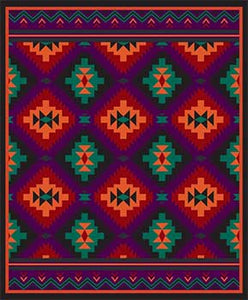 Blanket Queen CLD- Indian Ct- 1830 Southwest Design Purple