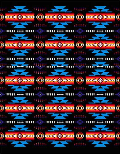 Blanket Queen TOR- Indian Ct-G3226 Busy Southwest Design Black