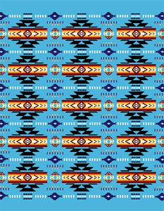 Blanket Queen TOR- Indian Ct-G3226 Busy Southwest Design Blue
