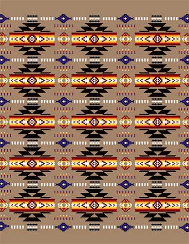 Blanket Queen TOR- Indian Ct-G3226 Busy Southwest Design Camel