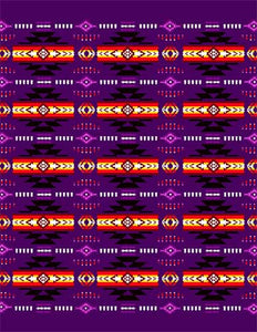 Blanket Queen TOR- Indian Ct-G3226 Busy Southwest Design Purple