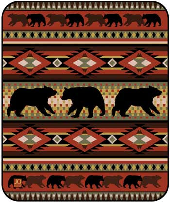 Blanket Queen JQ Signature- Bear Ct- Black Bear Lodge