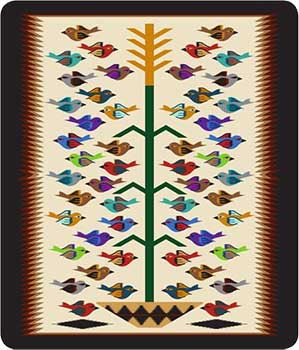 Blanket Queen SDL- Indian Ct- Native Design 10 Tree Of Life