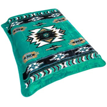 Blanket Queen VA-R- Indian Ct- Southwest Design Turquoise