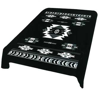 Blanket Queen DRA- Indian Ct- Southwest Design Black