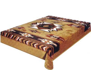 Blanket Queen DRA- Indian Ct- Southwest Design Brown