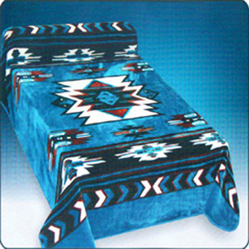 Blanket Queen DRA- Native Ct- Southwest Design Blue