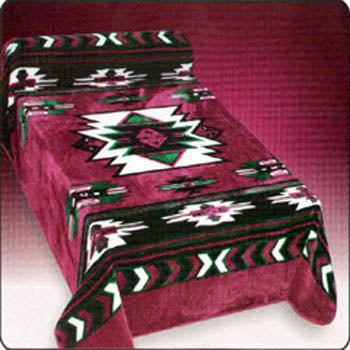 Blanket Queen DRA- Indian Ct- Southwest Design Maroon