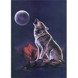 Blanket Queen TOR- Wolf Ct- Night Howling Wolf Southwest G531