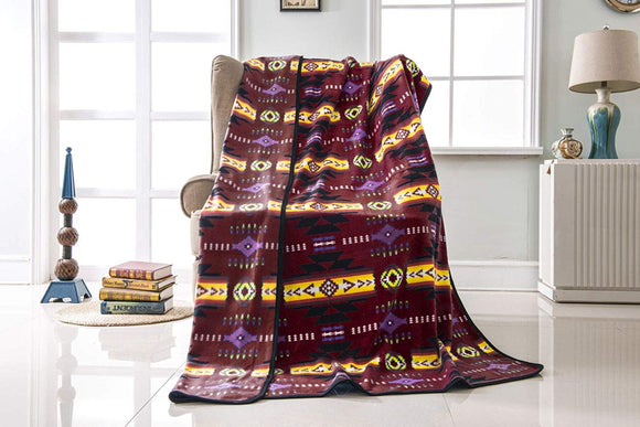 Fleece 50x60 Throw Blanket Busy Southwest 16112 Burgundy