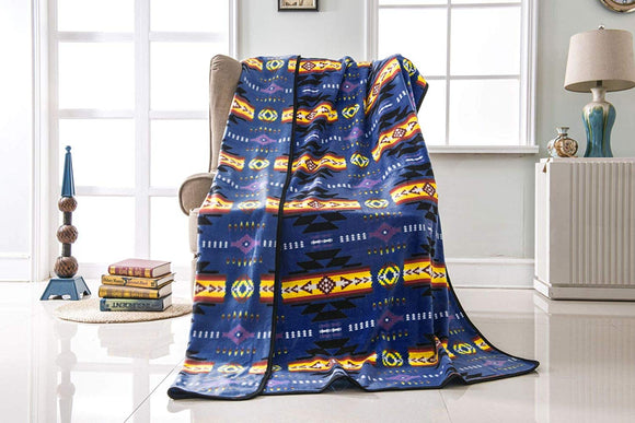 Fleece 50x60 Throw Blanket Busy Native Southwest 16112 Navy Blue