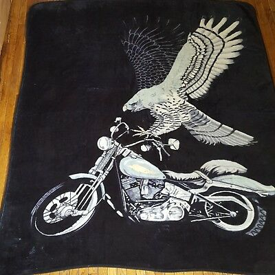 Blanket Queen Korean - Eagle and Motorcycle -Black Background
