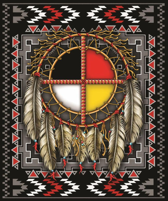 Blanket Queen CLD- Native Ct- Medicine Wheel Dreamcatcher