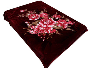 Blanket Queen ATL- Floral Ct-  5103 Flower in Burgundy