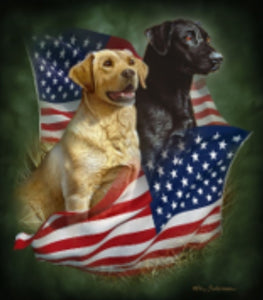 Blanket Queen JQ Signature- Flag  Wolf Ct- Patriotic Lab Dogs