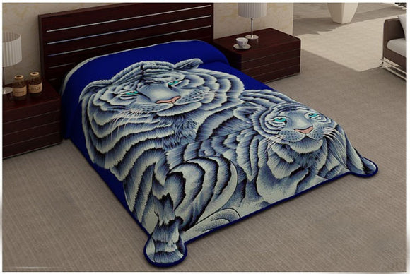 Blanket Queen 2PLY Cosmo- White Tiger Family 534
