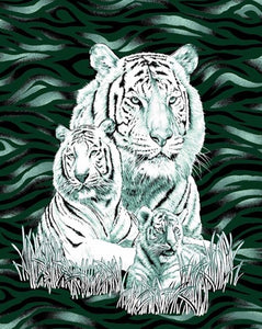 Blanket Queen TOR- Animal Ct- White Tiger & Cub 420