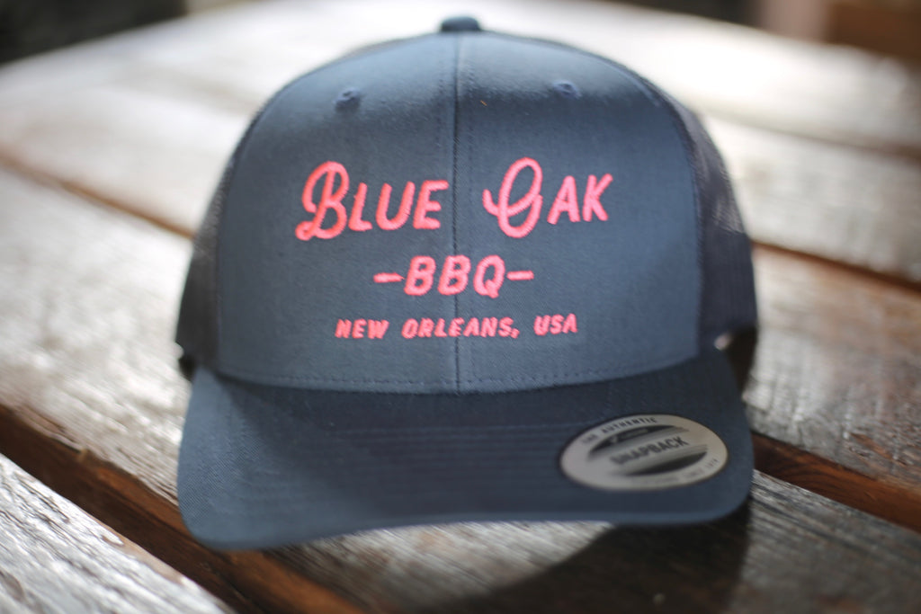 Blue Oak Script Trucker Hat