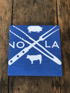 WHITE AND BLUE NOLA X TEE