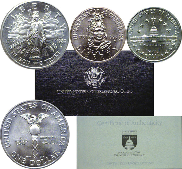 1989 Congressional Commemorative Silver Dollar 2-Coin Set BU
