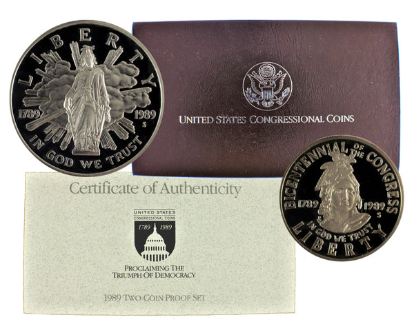 1989 Congressional Commemorative Silver Dollar 2-Coin Set Proof
