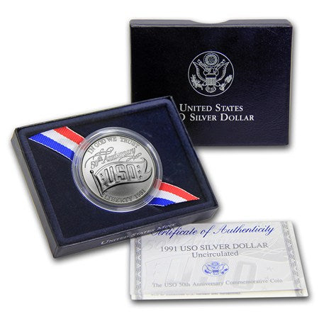 1991 USO Commemorative Silver Dollar BU