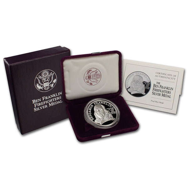 1992 Ben Franklin Firefighters Commemorative Silver Medal Proof