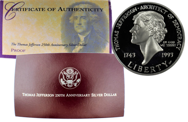 1993 Thomas Jefferson Commemorative Silver Dollar Proof