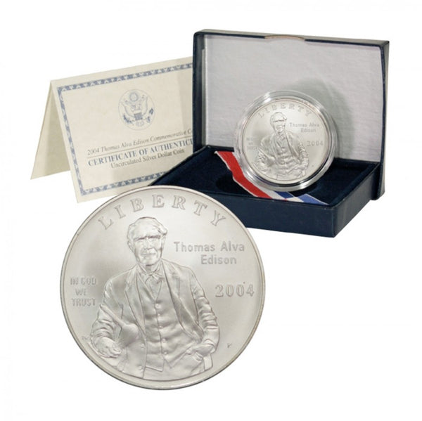 2004 Thomas Alva Edison Commemorative Silver Dollar BU
