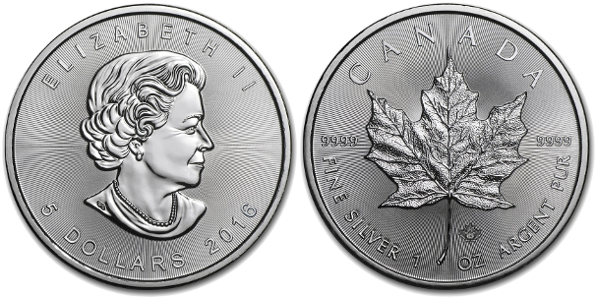 1 oz Silver Canadian Maple Leaf (Year Varies)