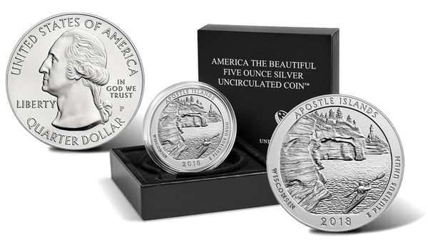 Apostle Islands National Lakeshore 2018 Uncirculated Five Ounce Silver Coin OMP