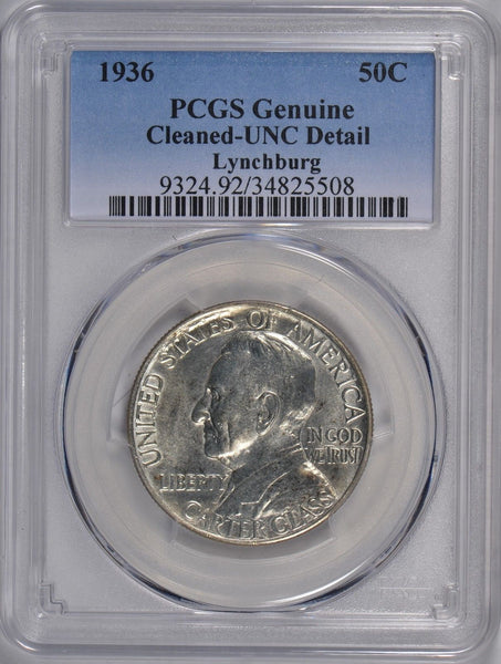 1936 Lynchburg Silver Commemorative Half Dollar PCGS Genuine Cleaned #176500
