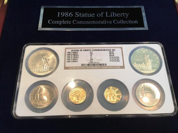 1986 Statue of Liberty 6 Coin Set w/ $5 gold and $1 Silver NGC MS 69 and PR 69UC